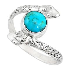 3.62cts green arizona mohave turquoise 925 silver snake ring size 10.5 p31368