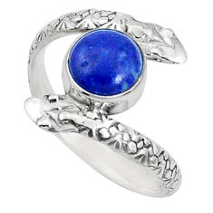 925 sterling silver 3.50cts natural blue lapis lazuli snake ring size 9.5 p31371