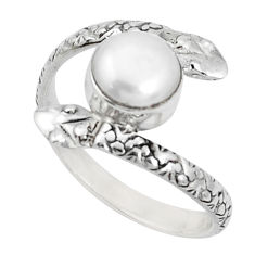 3.50cts natural white pearl 925 sterling silver snake ring jewelry size 9 p31372