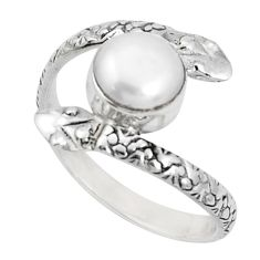 3.62cts natural white pearl round 925 sterling silver snake ring size 9.5 p31373