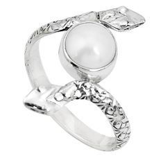 3.50cts natural white pearl 925 sterling silver snake ring jewelry size 9 p31381