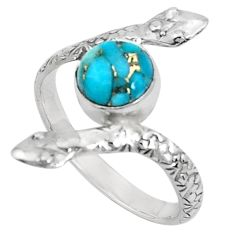 3.50cts blue copper turquoise 925 sterling silver snake ring size 10 p31384