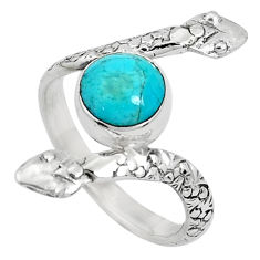 3.32cts blue arizona mohave turquoise 925 silver snake ring size 7.5 p31386