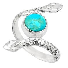 925 silver 3.30cts green arizona mohave turquoise round snake ring size 8 p31387