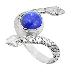 3.50cts natural blue lapis lazuli 925 sterling silver snake ring size 8 p31388