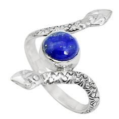 3.22cts natural blue lapis lazuli 925 sterling silver snake ring size 8.5 p31389
