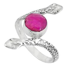 3.14cts natural red ruby 925 sterling silver snake ring jewelry size 8 p31393