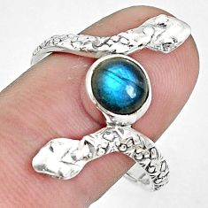 2.41cts natural blue labradorite 925 sterling silver snake ring size 10 p31396