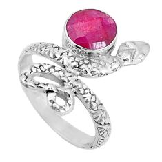 3.36cts natural red ruby 925 sterling silver snake ring jewelry size 7.5 p31408