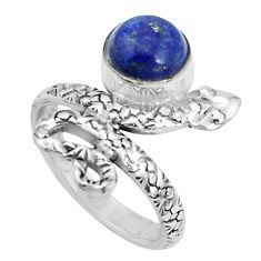 2.92cts natural blue lapis lazuli 925 sterling silver snake ring size 6.5 p31410