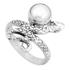 3.01cts natural white pearl round 925 sterling silver snake ring size 6.5 p31411