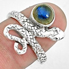 2.33cts natural blue labradorite 925 sterling silver snake ring size 7 p31415