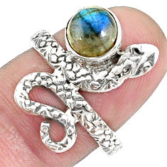2.56cts natural blue labradorite 925 sterling silver snake ring size 6.5 p31417