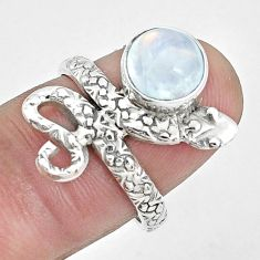 3.19cts natural rainbow moonstone 925 silver snake ring size 0 7/8 p31419