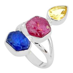 15.97cts natural pink ruby rough sapphire rough 925 silver ring size 9.5 p31521
