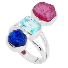 14.26cts natural pink ruby rough sapphire rough 925 silver ring size 8 p31533