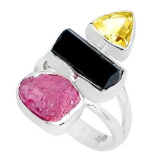 13.77cts natural pink ruby rough tourmaline rough 925 silver ring size 7 p31538