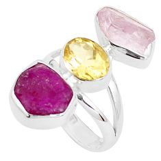 14.26cts natural pink morganite rough ruby rough 925 silver ring size 7 p31542