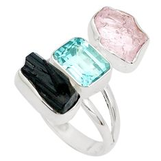 Natural pink morganite rough tourmaline rough 925 silver ring size 8 p31547
