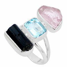 925 silver natural pink morganite rough tourmaline rough ring size 8 p31551