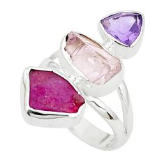 11.07cts natural pink morganite rough ruby rough 925 silver ring size 7 p31552