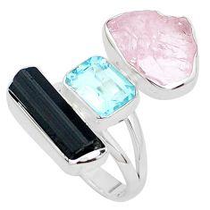 Natural pink morganite rough tourmaline rough 925 silver ring size 8 p31554