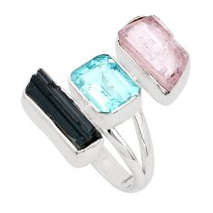 925 silver natural pink morganite rough tourmaline rough ring size 7 p31556