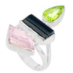 Natural pink morganite rough tourmaline rough 925 silver ring size 7.5 p31557