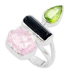 Natural pink morganite rough tourmaline rough 925 silver ring size 7 p31558