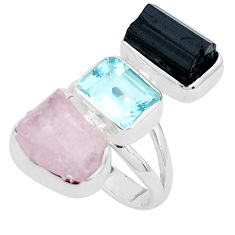 Natural pink morganite rough tourmaline rough 925 silver ring size 6 p31559
