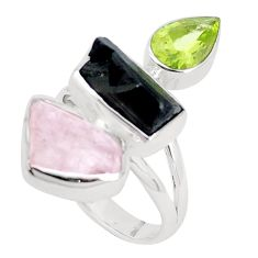 925 silver natural morganite rough tourmaline rough ring jewelry size 8 p31560