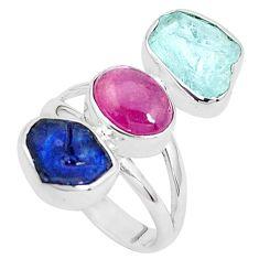 12.96cts natural aqua aquamarine rough tourmaline 925 silver ring size 7 p31581