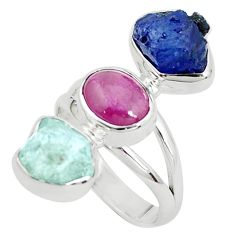 925 silver natural aqua aquamarine rough sapphire rough ring size 8 p31589