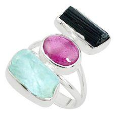 Natural aqua aquamarine rough tourmaline rough 925 silver ring size 7 p31595