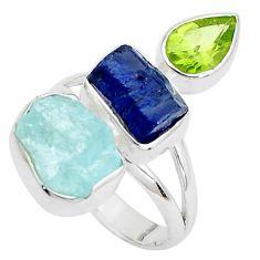 14.26cts natural aqua aquamarine rough peridot 925 silver ring size 8 p31602