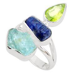 Natural aqua aquamarine rough sapphire rough 925 silver ring size 8 p31606