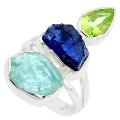 925 silver natural aqua aquamarine rough sapphire rough ring size 6 p31609