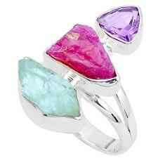 14.72cts natural aqua aquamarine rough ruby rough 925 silver ring size 8 p31610