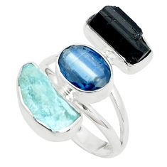 Natural aqua aquamarine rough tourmaline rough 925 silver ring size 8 p31612