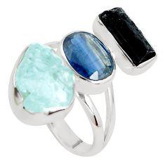 Natural aqua aquamarine rough tourmaline rough 925 silver ring size 8 p31614