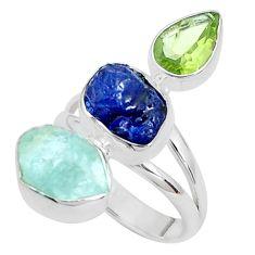 Natural aqua aquamarine rough sapphire rough 925 silver ring size 7 p31617
