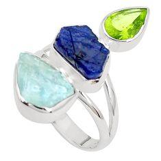 Natural aqua aquamarine rough sapphire rough 925 silver ring size 8 p31618
