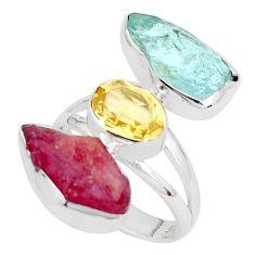 925 silver 15.16cts natural aqua aquamarine rough ruby rough ring size 8 p31619