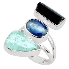 Natural aqua aquamarine rough tourmaline rough 925 silver ring size 7 p31620