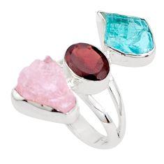 13.24cts natural pink morganite rough garnet 925 silver ring size 6 p31625