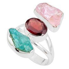 13.27cts natural pink morganite rough garnet 925 silver ring size 7.5 p31632