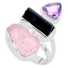 13.71cts natural pink morganite rough amethyst 925 silver ring size 6 p31645