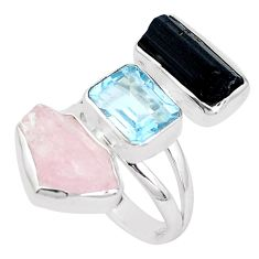 Natural pink morganite rough tourmaline rough 925 silver ring size 7 p31652