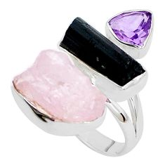16.92cts natural pink morganite rough amethyst 925 silver ring size 8 p31656