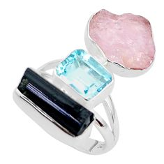 17.23cts natural pink morganite rough blue topaz 925 silver ring size 8 p31659